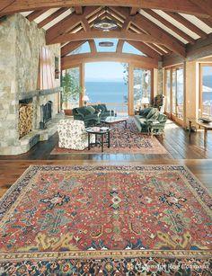 Serapi and Malayer Antique Rugs Distinguish and Unify Grand Spaces http://www.claremontrug.com/client-home-interiors-design/antique-rugs-serapi/