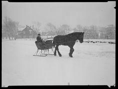 Vintage Snow: Driving in a one horse open sleigh. Boston, Massachusettes. Circa 1940-49. Photo Credit: Leslie Jones, Boston Public Library