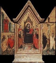Pacino di Bonaguida - Altarolo con la Crocifissione, Madonna e santi - 1300-1315 - Galleria degli Uffizi, Firenze