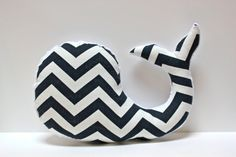Modern baby Chevron WHALE pillow - nautical nursery decor navy white plushie - shower gift for new mom