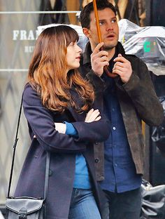 """""""   March 07,2016 » Dakota Johnson and Jamie Dornan filming the first scene of the day for Fifty Shades Darker in Gastown, Vancouver • # """""""