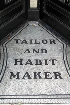 Painted signs and mosaics: Tailor and habit maker, Putney Floor Design, Tile Design, Entry Tile, Mosaic Tiles, Mosaic Floors, Tiling, Architecture Restaurant, Family Tree Research, Hallway Flooring