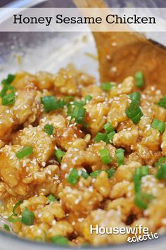 Housewife Eclectic: Honey Sesame Chicken. The delicious recipe is perfect for any dinner@