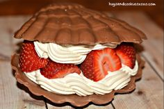 CHOCOLATE SHELL FILLED WITH STRAWBERRIES & WHIPPED CREAM - Hugs and Cookies XOXO