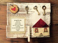 Recuperare vecchie assi di legno e ridare loro nuova vita. [Portafoto e portachiavi decorativo] In questa casa: siamo veri, fa...