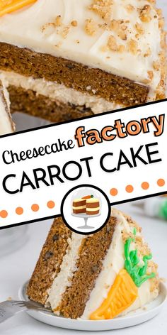 Cheesecake Factory Carrot Cake Cheesecake Copycat has two layers of delicious carrot cake, a layer of cheesecake, and is smothered in the best cream cheese frosting to make one glorious cake! Best Cake Recipes, Amazing Recipes, Cupcake Recipes, Cookie Recipes, Dessert Recipes, Favorite Recipes, Carrot Cake Cheesecake, Best Cheesecake, Cheesecake Desserts