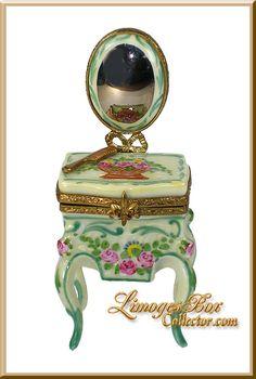 Limoges Boxes | Vanity Table & Mirror Limoges Box