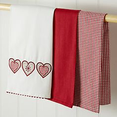 by Sainsbury's Red Heart Tea Towels 3-pack
