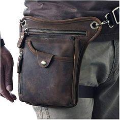 1394aad1028 Amazon.com  Le aokuu Mens Genuine Leather Motorcycle Horse Riding Waist  Pack Drop