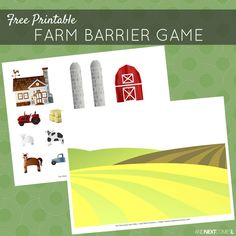 Free printable farm themed barrier game for speech therapy – great for kids with autism and hyperlexia from And Next … Speech Therapy Themes, Therapy Games, Speech Language Pathology, Speech And Language, Therapy Ideas, Speech Therapy Activities, Language Activities, Learning Activities, Travel Activities