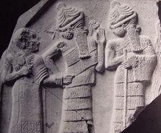 Ningishzida (center) with Serpants on His Shoulders, Leading Gudea of Lagash (left) to meet Anu
