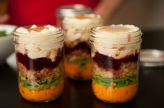 Layer all the classic Thanksgiving menu items in a glass jar and put mashed potatoes on the top, as they'll create a more effective seal. To reheat, put the entire jar in simmering water for minutes, or remove the metal lid and microwave the jar. Classic Thanksgiving Menu, Thanksgiving Leftover Recipes, Thanksgiving Leftovers, Thanksgiving Meal, Mason Jar Meals, Meals In A Jar, Mason Jar Crafts, Mason Jars, Fall Recipes