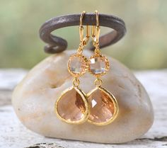 Champagne Bridesmaid Earrings. Jewel Bridesmaid by RusticGem, $29.95