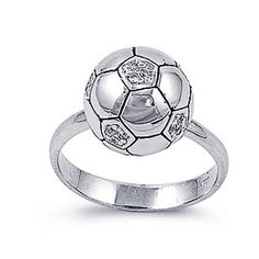 Rhodium Plated Sterling Silver Wedding & Engagement Ring Clear CZ Soccer Ball Ring 12MM ( Size 5 to 9) Double Accent. $44.99. Nickel Free. Hypoallergenic. 925 Sterling Silver. Comes with Beautiful Jewelry Case. Prompt Shpping