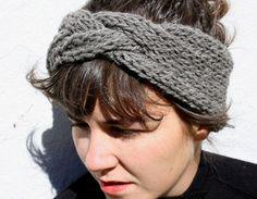 serre-tête tressé en gris ardoise, main en tricot de laine de mouton de 100 % péruvien Highland