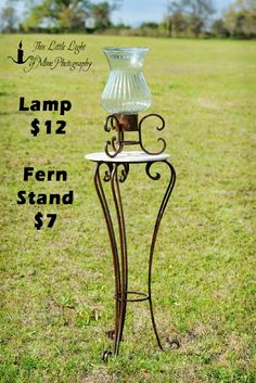 This Little Light of Mine Photography - Rentals, Hurricane Table Lamp, Fern stand, Iron table, rustic wedding decor