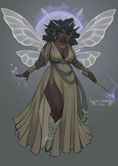 (Open) gold magic ~fae~ by naznemati fairy art, character design references Black Anime Characters, Dnd Characters, Fantasy Characters, Female Characters, Black Love Art, Black Girl Art, Art Girl, Character Design Challenge, Character Design Inspiration