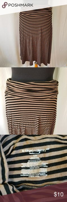 Liz Lange maternity skirt Size small. Black and tan stripe. Stretchy. Good condition. Liz Lange Skirts Midi