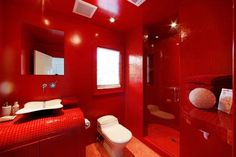 Red Bathroom Design With Modern Style Workout Rooms Gl Tile