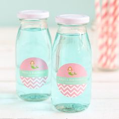Add an eco-friendly touch to your birthday party with these personalized glass milk jars. Under The Sea Party, Mermaid Birthday, Birthday Parties, Mason Jars, Milk, Glass, Bebe, Anniversary Parties, Birthday Celebrations