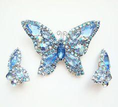 Vintage Figural Blue and AB Rhinestone Butterfly Pin Brooch & Earrings Butterfly Pin, Butterfly Jewelry, Rhinestone Jewelry, Crystal Jewelry, Beautiful Bugs, Animal Jewelry, I Love Jewelry, Vintage Costumes, Swarovski Crystals