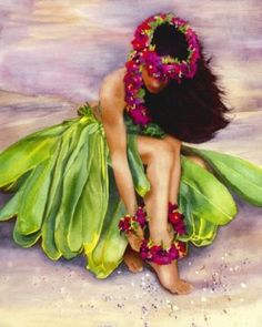 Hawaiian painting of a hula girl. Very pretty! I think it's acrylics but I am not sure.