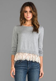 Alice by Temperley Odille Frill Jumper in Grey Mix