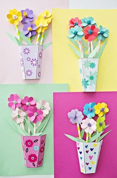 How to make 3D Paper Flower Bouquets with Video and Free Templates. Great gift for Mother's Day and paper craft for kids! #artsandcraftsforkidswithpaper,