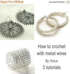 Tutoriels Uniques! Tutoriels pour bijoux maisons, technique rare de crochet au fil métallique. Instructions très détaillées, de nombreuses photos et