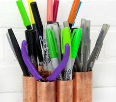 DIY Copper Pipe Desk Organizer