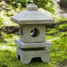 Small Square Japanese Lantern Sculpture - Green Patina