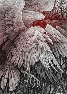 BRILLIANT!! White raven with 9 wings by Alaiaorax