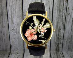 Hibicus Flower Watch   Floral Watch   Women's Watch   Men's Watch   Gift for Her   Gift Idea   Custom Watch   Fashion Accessory