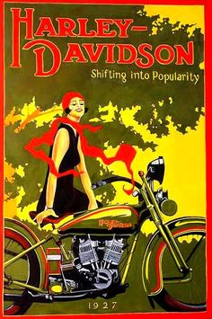 Harley-Davidson Woman in Red Scarf on Bike 1927
