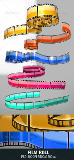 Film Stripe by kenoric High quality filmstrip 3D renders. PSD Layer 3500×3500px. RGB. Great for prints, web design, poster, flyer, billboard, logo. Color