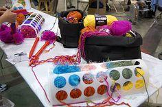 Yarn holder from Ikea Rationell Variera Plastic bag holder.