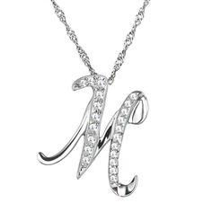 Silver Pendant M Shape Necklace for Women