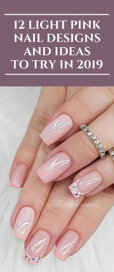 12 Light Pink Nail Designs and Ideas to Try in 2019 nails Pinknail fashion NailDesigns Nailart Pink Stiletto Nails, Matte Pink Nails, Silver Glitter Nails, Light Pink Nails, Pink Acrylic Nails, Sparkle Nails, Rhinestone Nails, Light Pink Nail Designs, Silver Nail Designs