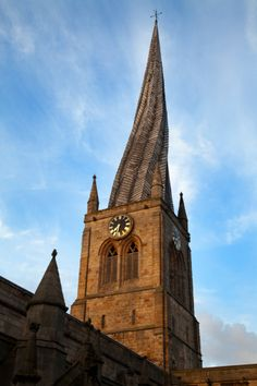 View top-quality stock photos of The Crooked Spire At The Parish Church Of St Mary And All Saints Chesterfield Derbyshire England United Kingdom Europe. Story Of The World, Wonders Of The World, Chesterfield Derbyshire, England And Scotland, Chapelle, British Isles, All Saints, Architecture Details, Saints
