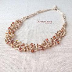 Beaded crocheted Boho multistrand necklace by CrochetFancyLove