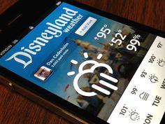 "Disneyland Weather App, Marco Suarez // ""Love that weather pictograms"" Interface Design, Ui Design, Weather Icons, Ui Web, Mobile Design, Pictogram, Mobile Ui, Material Design, Interactive Design"