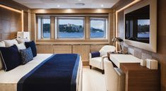 Private Yacht, Yacht Interior, Conference Room, Yachts, Couch, Windows, Contemporary, Bed, Table