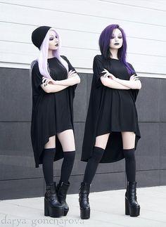 Long black dress nu-goth look by darya_goncharova_
