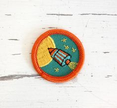 ONE Adventure Brooch Badge Key Paint Rocket by GallymoggerShoppe, $7.00