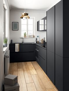 35 Perfect Small Apartment Kitchen Design And Decor Ideas - SearcHomee 35 Perfe. 35 Perfect Small Apartment Kitchen Design And Decor Ideas – SearcHomee 35 Perfe… 35 Perfect S Black Kitchen Cabinets, Black Kitchens, Home Kitchens, Kitchen Black, Tiny Kitchens, Contemporary Kitchen Cabinets, Contemporary Kitchens, Kitchen Shelves, White Cabinets