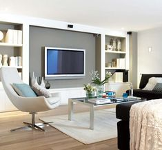 Home theater Family room Living Room Tv, Home And Living, Muebles Living, Tv Wall Decor, Tv Wall Design, Family Room, Interior Design, Movie Rooms, Tv Rooms