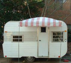 old teardrop trailers | ... Vintage Trailer Awning for a tiny travel trailer or Teardrop trailer