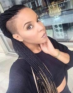 Shaved Side Hairstyles, Box Braids Hairstyles For Black Women, New Natural Hairstyles, Black Hairstyles, Undercut Hairstyles, American Hairstyles, Beautiful Hairstyles, Small Box Braids, Short Box Braids