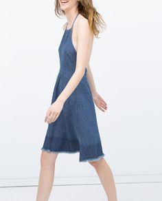 ZARA - WOMAN - HALTER TOP DRESS WITH FRAYED HEM