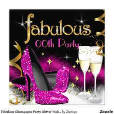 Fabulous Champagne Party Glitter Pink High Heel 5.25x5.25 Square Paper Invitation Card